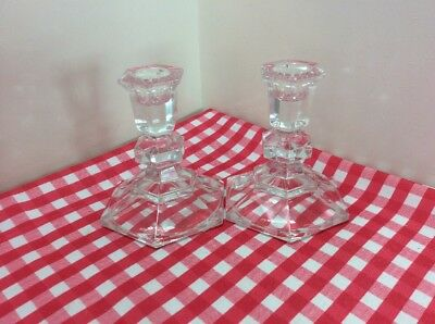 Lovely Pair Of Clear Glass Candlesticks
