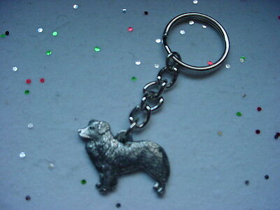 BORDER COLLIE dog PEWTER silver KEYCHAIN /CHRISTMAS ORNAMENT Key Ring puppy NEW