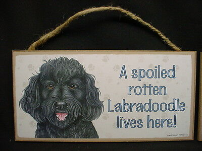 BLACK LABRA DOODLE A Spoiled Rotten DOG wood SIGN wall PLAQUE Labradoodle puppy