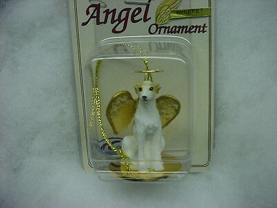 WHIPPET Tan White dog ANGEL Ornament resin Figurine COLLECTIBLE Christmas puppy