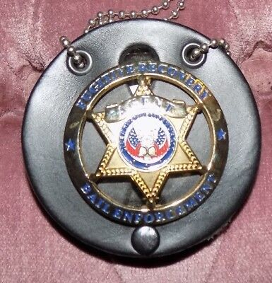 Bond Enforcement Fugitive Recovery Badge With Holder And Chain In Great Shape