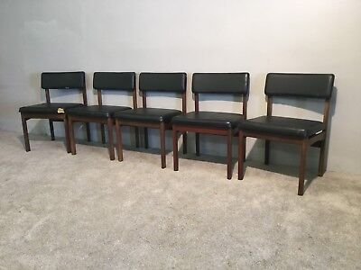 Groovy Vintage Retro Danish Set Of 5 Five Black Vinyl Kitchen Gmtry Best Dining Table And Chair Ideas Images Gmtryco