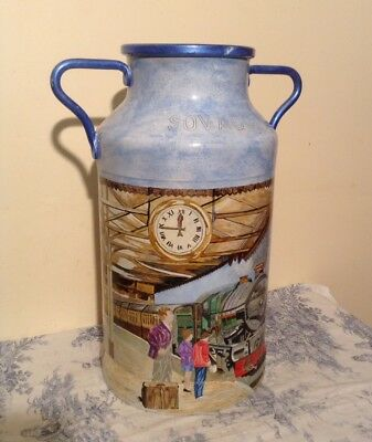 Vintage French Decorated Milk Churn - Hand Painted Train Station (1946)