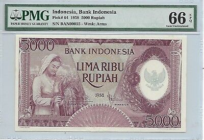 Indonesia, Bank Indonesia - 5000 Rupiah, 1958. Purple color. PMG 66EPQ. 000055.