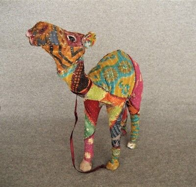 Vintage Patchwork Quilt Wrapped Camel With Glass Eyes Figurine