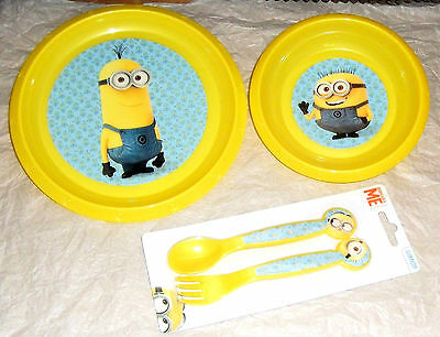 Despicable Me Minions  3 Piece Mealtime Plate,Bowl,Cutlery  Set New