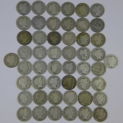 1892-1916 Barber Dimes 90% Silver Mix Roll of 50 Coins  AG-G Avg Circulated