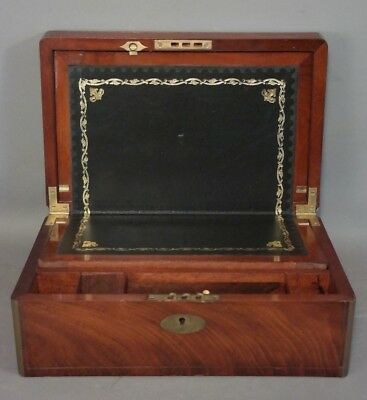 Antique EDWARDIAN BRASS Inlay WRITING Lap DESK Wood HIDDEN DRAWER Secretary BOX