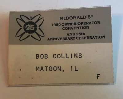 25Th Anniversary Celebration Mcdonald's 1980 Owner Operator Convention ID Card