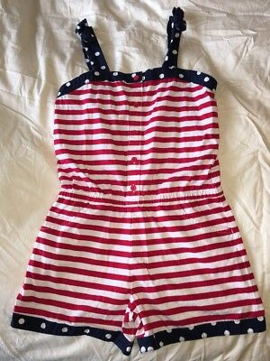Gymboree Girls Romper Size 12 Red White Blue Fourth Of July Cute 🇺🇸