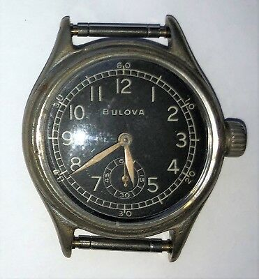 "Original WWII US Army ""BULOVA"" A-11 Ordnance Wrist Watch *WORKS* Very Nice!"