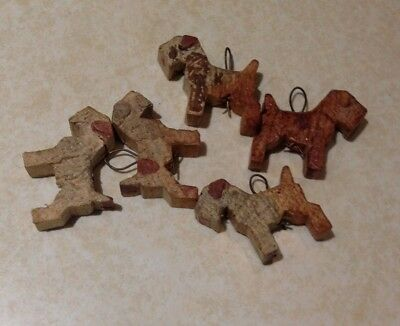 Vintage Wire Fox Terrier Dog Lot of 5 Wood Figures