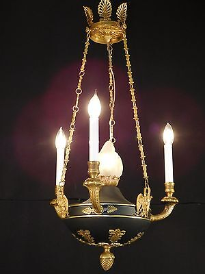 Antique 3 Arm 4 Light French Empire Flame Ormolu Chandelier PAIR AVAILABLE