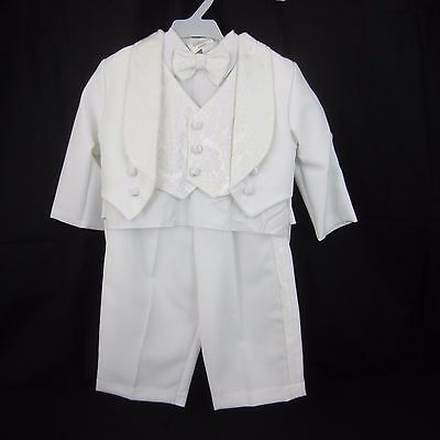 Toddler boy 4 Pc Suit/Tuxedo White W/ Brocade Tails 18 Mos 20 1/2 lbs-23 1/2 lbs