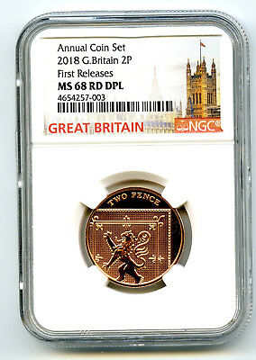 2018 Great Britain 2P Ngc Ms68 Dpl Deep Proof Like Annual First Releases Pop7