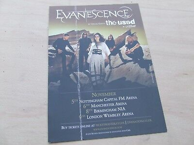 Evanescence....Tour Flyer 2008 A5 promo...has crease but in gc