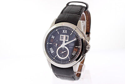 Men's Citizen BT0001-12E Eco-Drive Stainless Leather Strap Black Dial Watch