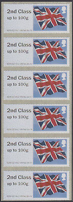 GB Post & Go 6x2nd Class Printed in Error on Union Flag Stamps