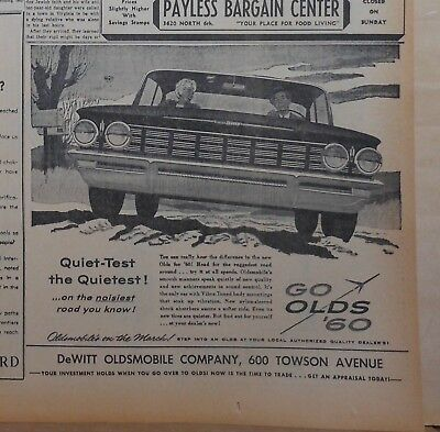 1960 newspaper ad for Oldsmobile - Quiet Test the Quietest on noisy roads