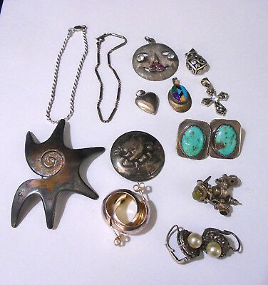 Lot Of 12 Assorted Sterling Silver Jewelry. 67.6 Grams Total Weight.TESTED.(430)