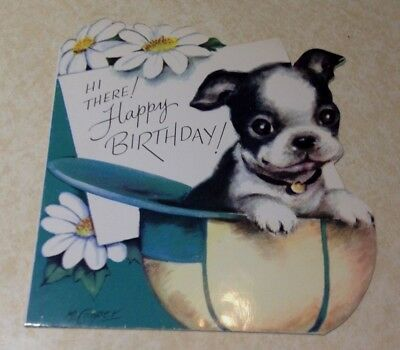 Vintage Greeting Card with Boston Terrier Puppy