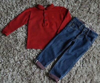Baby Boys Burberry Designer Clothes Red Polo Shirt Jeans 2 Years Vgc