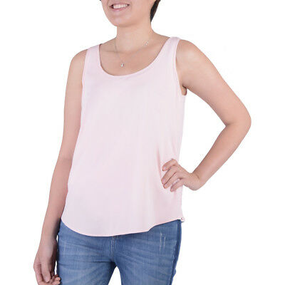 4e4f5d6743c93 NEW Womens Time and Tru Daylily Pink Woven Stretch Tank Top Large 12-14