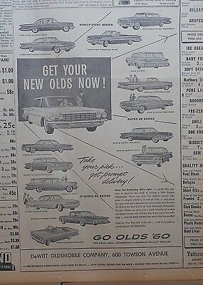 1960 newspaper ad for Oldsmobile - Get Your Olds Now!, 15 different models shown