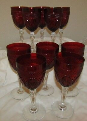 """10 Vintage Ruby Red Glass Luminarc Goblets 8"""" Wine Water Cristal D'Arques Durand"""