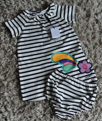 Brand New Burberry Baby Girls Designer Navy Striped Julia Dress 1 Year RRP £84
