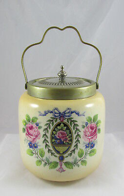 Old English Paddy Ceramic&Silverplate Biscuit Cracker Jar Barrel Roses Wreath