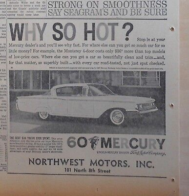 1960 newspaper ad for Mercury - Why So Hot? 1960 Monterey 4-door