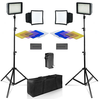 New 216LED Studio Video Light Nikon Canon Camera Camcorder Photo Lighting Kit