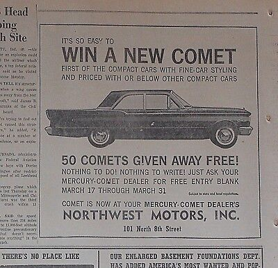 1960 newspaper ad for Mercury - 1960 Win a New Comet Contest, 50 given away free