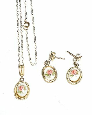 .375 9ct YELLOW GOLD Oval Pink Rose Pendant Necklace & Earrings Set, 1.56g - D32