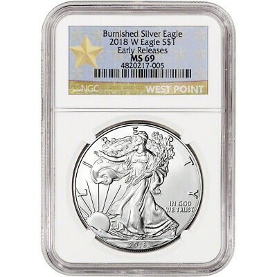 2018-W American Silver Eagle Burnished - NGC MS69 Early Releases WP Star