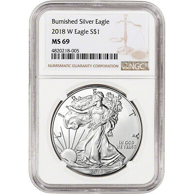 2018-W American Silver Eagle Burnished - NGC MS69 Large Label