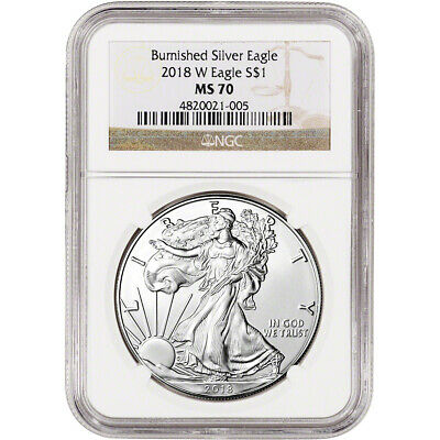 2018-W American Silver Eagle Burnished - NGC MS70