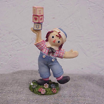 Raggedy Anns Andy w/I Love You Blocks Enesco