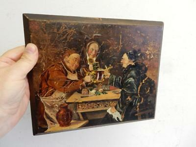 really old PAINTING oil wood medieval pub drinking