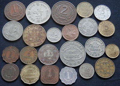 Crowned Queen Elizabeth Ii, 23 Diff Type Coins Of From 9 Former British Colonies