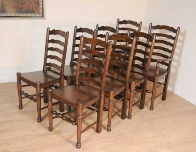 Set 8 Oak Ladderback Chairs Kitchen Dining Chair Farmhouse Furniture