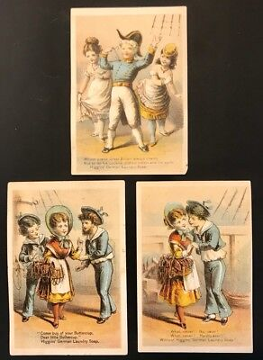 3 Antique Victorian Advertising Trade Cards: Higgin's German Laundry Soap, 1880s