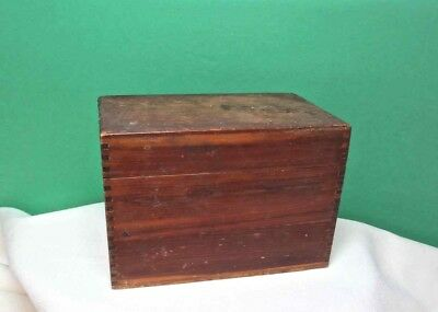 "Antique Wood Recipe File Box Dovetail Construction 3"" x 5"" Cards USA"