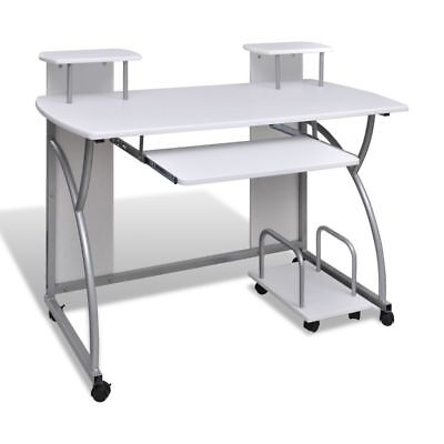 Mobile Computer Desk Pull Out Tray White Finish Furniture Office#