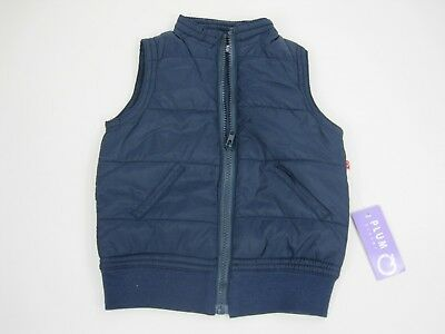 Plum Sister Baby Kids Sleeveless Zip Up Puffer Vest Jacket sizes 1 2 3 4 Ink