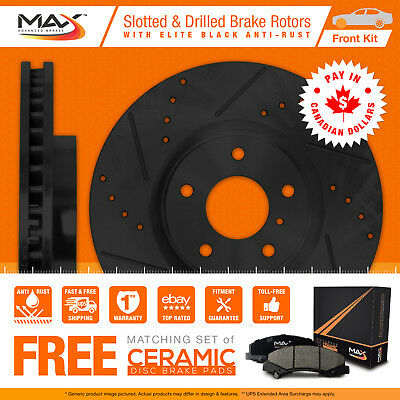 2015 Chevy Suburban 1500 (See Desc.) Black Slot Drill Rotor Max Pads Front