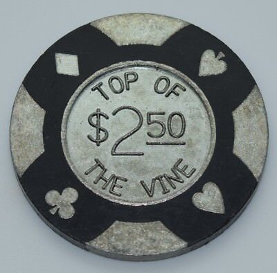 Top of the Vine $2.50 Card Room Casino Chip Lebec CA 4-Suits Metal Insert 1990's