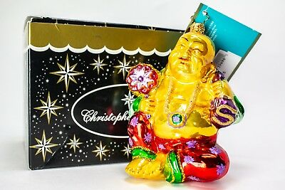 "Christopher RADKO BUDDHA JOY STATUE GLASS CHRISTMAS 4.5"" ORNAMENT Retired 2006"