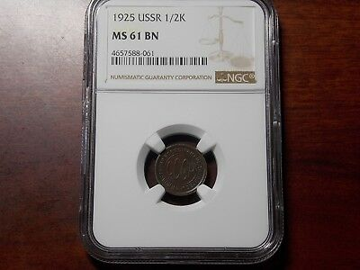1925 USSR Russia 1/2 kopeck coin NGC MS-61